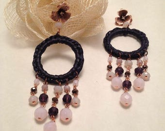 """""""Malaga""""-copper earrings with crystals"""