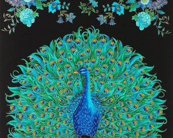 Enchanted Plume by Chong-A Hwang for Timeless Treasures.  This is a peacock fabric panel.  Suffolk can be used with it.
