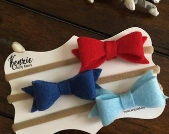 Felt Bow Baby Headband, Set of Three, Red, Dark and Light Blue Nylon Headband