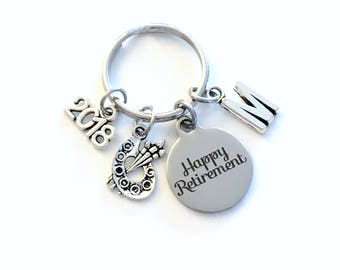 Retirement Gift for Artist Keychain, 2018 Preschool Art Teach Key chain Keyring Retire Initial letter Pre Her Au Pair Nanny day care Daycare