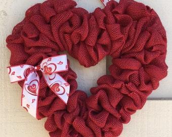 Valentine wreath,Valentine burlap wreath,Valentine red burlap heart,Burlap heart wreath,Heart wreath,Valentine gift,Valentine's Day heart