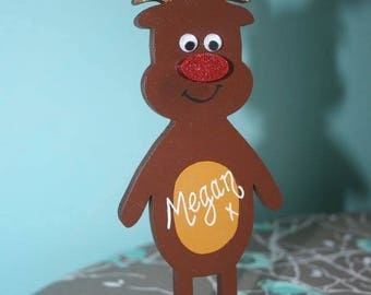 Freestanding wooden personalised reindeer