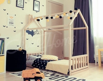 Children bed, toddler bed, crib bed, house bed, bed house, bedroom interior unique bed, Montessori toy, waldorf toy, frame bed, gift SLATS