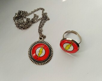 Flash necklace / flash ring / Comics necklace /