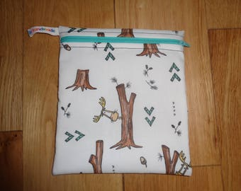 Reuseable Wrap - Bikini Bag - Lunch Bag  - Zero Waste Medium Poppins Waterproof Lined Zip Pouch - Sandwich bag - Eco - Moose Trees Forest