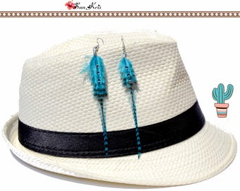 Turquoise feather, hippie chic style with Rhinestone earrings ethnic native gypsy boho jewelry