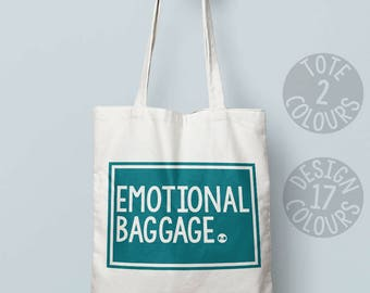 Emotional Baggage personalised tote bag, holdall bag, retro gift for mum, feel better, resist, feminist af, girl power, love is love, rights