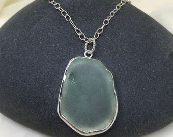 Large Lake Superior Aqua Beach Glass Pendant, Sterling Silver Sea Glass Necklace, Great Lakes Jewelry, Made in Michigan