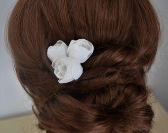 Set of 3 ivory flower hair pins, bridesmaid hair clip, ivory hair flower, flower hair accessory, rustic wedding hair clip, bridal hair pins