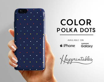 Phone case Blue Polka Dots, iPhone 7, iPhone SE, iPhone PLUS, iPhone 6 / 6S, iPhone 5 / 5S, iPhone 5C, Samsung Galaxy 5S, galaxy 6 Edge