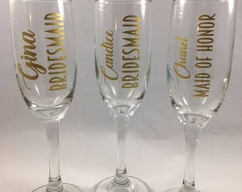 Toasting glasses, Bridesmaid gift, Personalized champagne glasses, Custom champagne glasses, Maid of honor, Matron of honor
