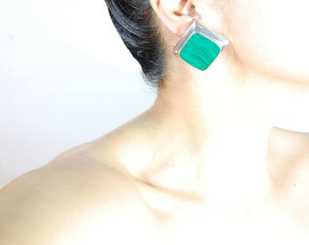 Vintage Mexican Large Silver Malachite Clip Earrings