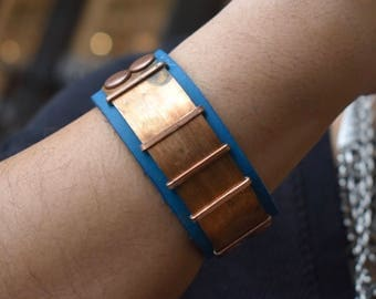 Copper and Teal Blue Leather Butterfly Bracelet Bangle
