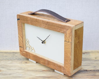 Wooden Clock, Desk Clock, Modern Clock, Table Clock, Handmade Clock, Wood Clock, Clock, Rustic Clock, Oak Clock, Table Clock, Office Clock