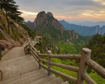 China Photography, Hiking Trail Huangshan Yellow Mountain, Sunset, China Wall Print, Travel Photography, Natural Photography, Wall Art Print