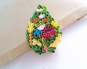 Polymer clay flower brooch, flowers green forest brooch, floral brooch, middle earth nature brooch, pattern flower brooch