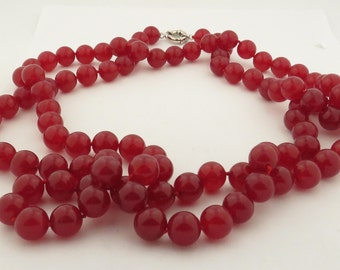 "Vintage Natural Red Ruby Jade (12 mm) 27"" Necklace w/ Silver Clasp."