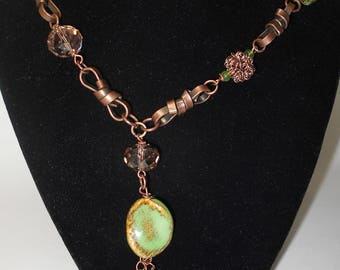 Bronze and Green Stone Necklace
