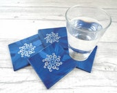 Blue wooden coasters set of 4 - Boho coasters - Tribal coasters - Coasters with sun symbol - Painted coasters - Gift for hostess