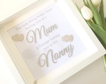 Diamanté hand embellished 'Having you as a mum' 3D box frame. Mothers day birthday gift. best seller beautiful