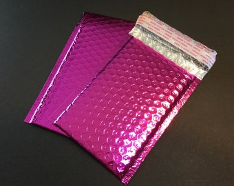 50 6x9 PINK Metallic Poly Bubble Mailers Size 0 Self Sealing Shipping Envelopes