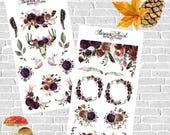Burgundy Autumn Rose Full Set Planner Stickers boho