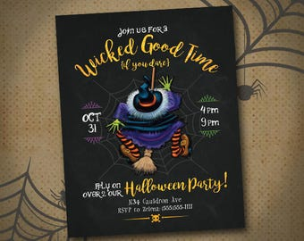 Halloween Party Invitation, Halloween Invites, Halloween Party Flyer, Halloween Digital Download, Halloween Printable Invite, Witch, DIGITAL