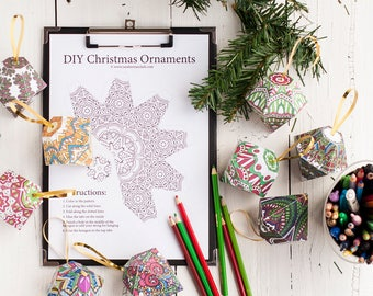 Christmas Ornament Template | Set of 10 Printable coloring page DIY ornament templates to decorate your Christmas tree! Christmas craft idea