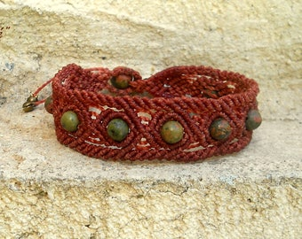 "Macrame bracelet ""Oneness"" with beautiful Unakite beads"