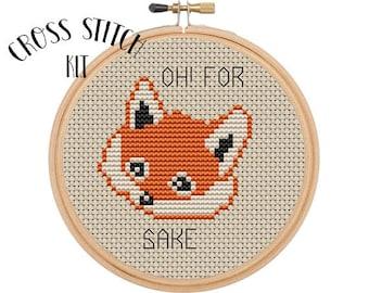 Oh! For Fox Sake Cross Stitch  Kit. Beginner Cross Stitch. Funny Cross Stitch. Retro Embroidery. Embroidery Kit. Animal Cross Stitch Kit.