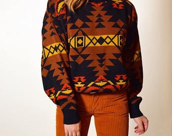 Vintage 1980's Aztec western print cozy long sleeve mock turtleneck sweater women's size medium