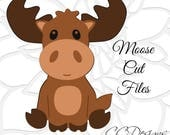 Moose SVG Cut File, Baby Moose SVG, Cute baby woodland animal SVGs, DXF cut files, Cut files to use with Silhouette and Cricut