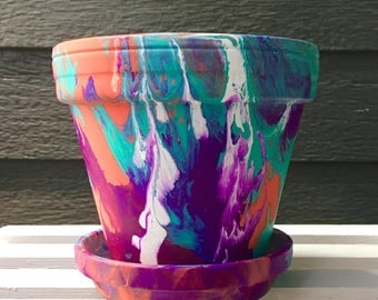 Orange, Magenta, and Teal Hand-Painted Pot//Handpainted Flower Pot