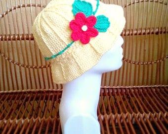 Yellow crochet cotton sun hat, Yellow cotton little girls suns hat, Crochet flower sun hat, Handmade kids sunhat, Kids sun hat for summer