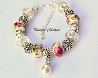 Silver Plated Pink and White Flower and Pearl European Style bead Charm Bracelet