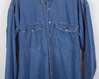 Vintage jeans shirt - first edition - long sleeves - oversized