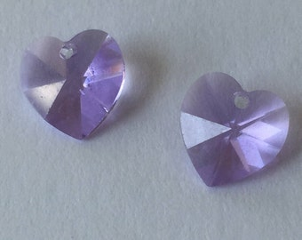 Swarovski Crystal Lilac Heart -  Lilac Heart Bead -  Top Drilled 10mm - Package of 2