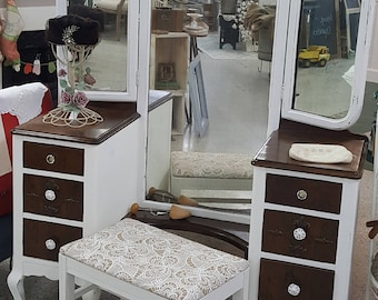 Vintage 1920u0027s White/Stained Wood Vanity With Tri Fold Mirror And Stool Antique  Dressing