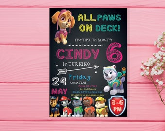 Paw patrol Invitation paw patrol Birthday paw patrol Birthday Invitation paw patrol PDF editable text paw patrol birthday invitation girl