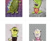 Frankenstein, Godzilla, Ultraman, Rat Fink prints by Wyatt