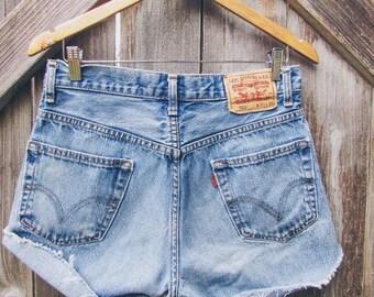 "Vintage Levi 550 Distressed High-Waisted Denim Shorts  /30"" Waist / Women's Size 9"