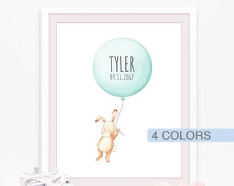 Custom baby name print, baby girl nursery wall art, balloons nursery, personalized baby gift, custom aqua nursery decor