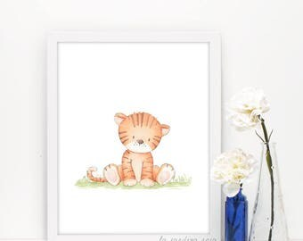 Tiger prints, Baby wall art, Jungle art print, Jungle animals nursery, Baby room decor