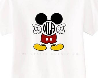 Mickey Mouse Monogram T-Shirt | Mickey Mouse Shirt | Kids Apparel