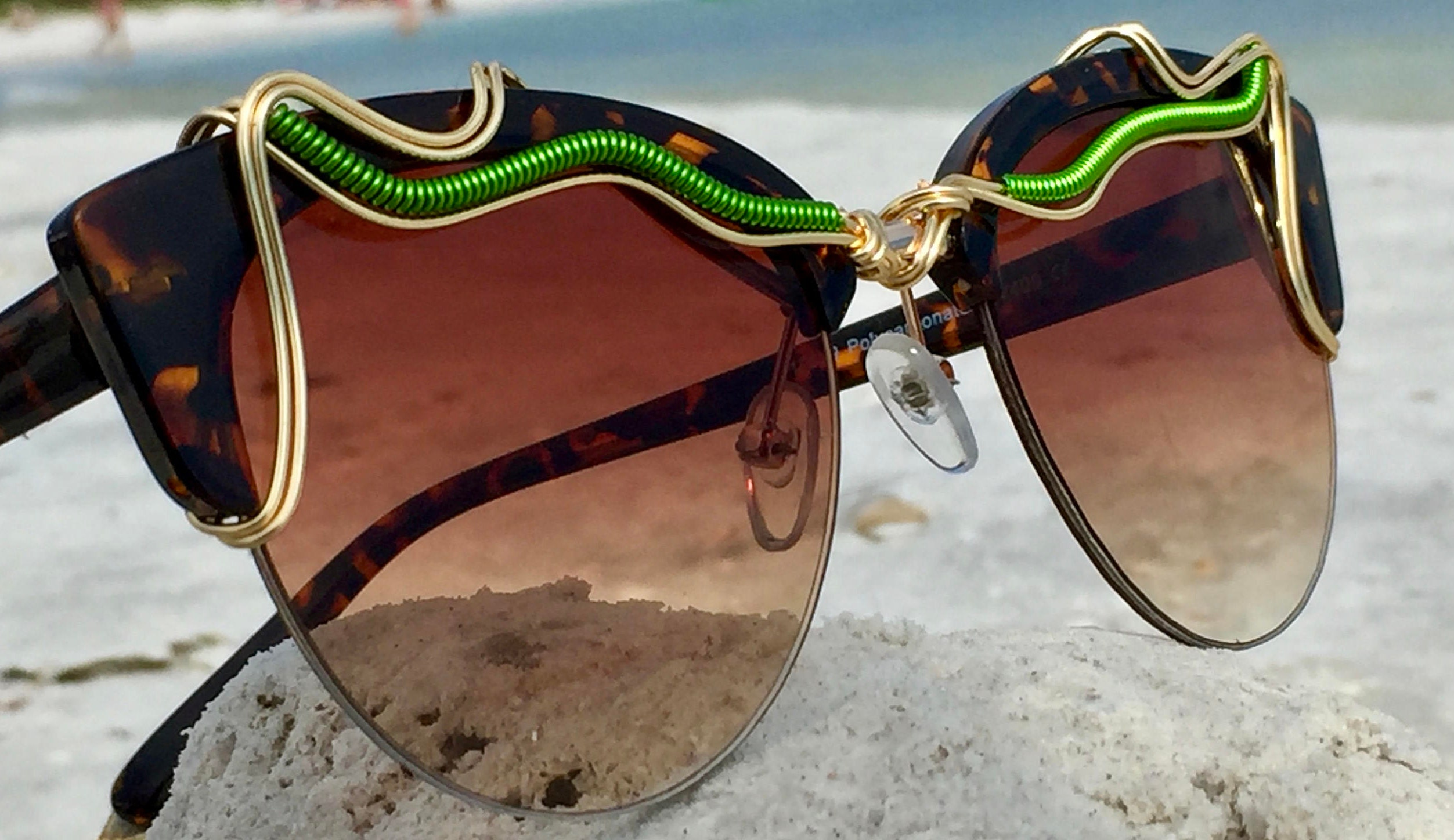 Sunglasses Small Green Summer New Retro Style Cat Eye Spunglasses Gold Wire Wrap W Tortoise Shell Accents