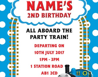 Personalised Thomas the Tank Engine Party Invitations and Matching Envelopes x 10