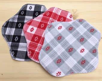 Ready to Ship 3-Pack, Reusable Cloth Pantyliner, Panty Liner, Flannel Front and Back, 100% Cotton Flannel, Red White and Black