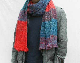 Chunky knit scarf for men red blue long shawl machine knit ribbed scarf for men and women knit with cotton and kid mohair