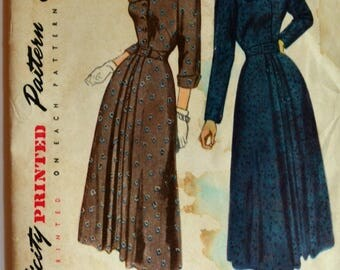 Uncut 1940s Simplicity Vintage Sewing Pattern 2958, Size 12; Misses' One Piece Dress