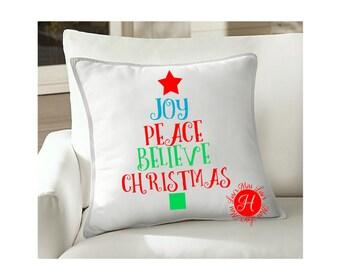 Peace Love Joy Christmas  Tree  Pillow design SVG DFX Cut file  Cricut explore file  vinyl decal wood sign cricut cameo Commercial use